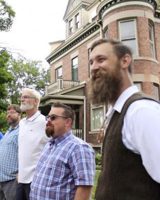 Beard contest winner Raymond Ondrejka, right, with other competitors, from left, Paul Eisenberg, Leschuck and Jamie Turlay.