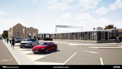 The parking lot south of the station building will be reconfigured to make room for a new ramp leading to the boarding platform.