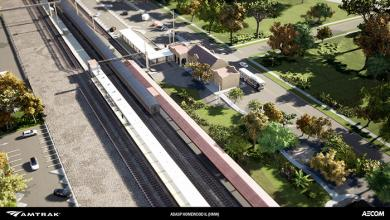 An aerial view of the changes planned for the west side of the Homewood train station.