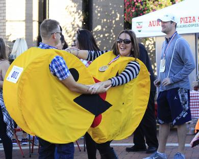 The dancing Pac-man people, Wesley and Lisa Lynch, were among a group that won the costume contest.