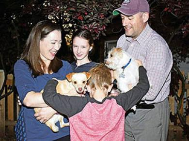 The O'Shea family with their pets. The most recent addition is The Colonel, left. (MC)