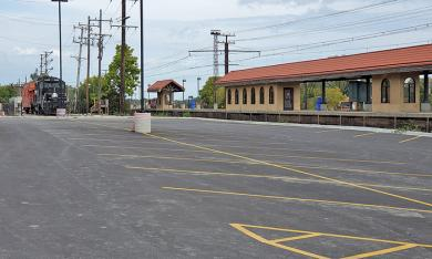A new parking lot on the north side of the station building will compensate for parking spaces lost on the south side to make way for a new ramp.