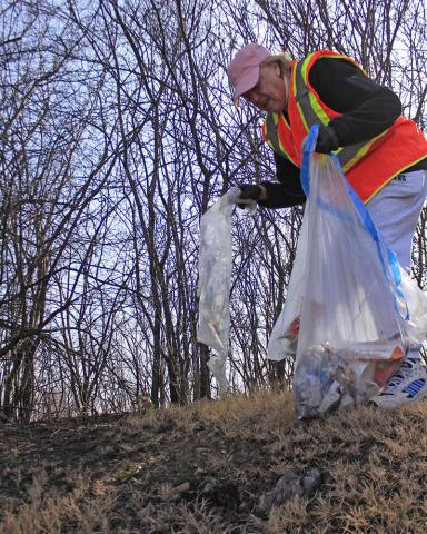 Susan Gowen of Olympia Fields bags some litter on the east side of Kedzie Avenue on Saturday.